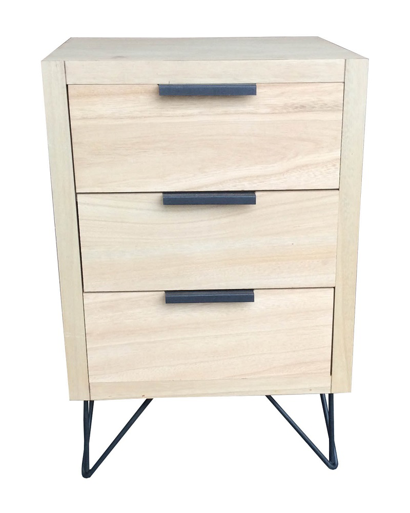 Vogue 3 Drawer Chest Natural