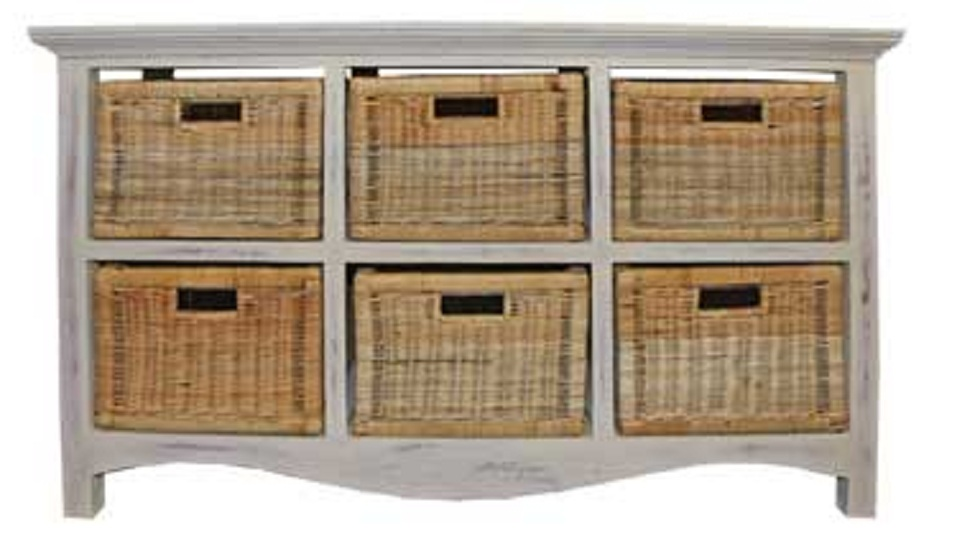 Chest 6 Drawer Rattan Baskets