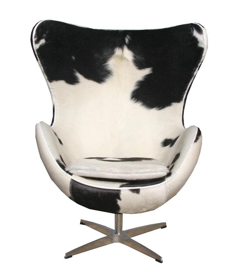 Replica arne jacobsen egg chair pony black white for Arne jacobsen replica