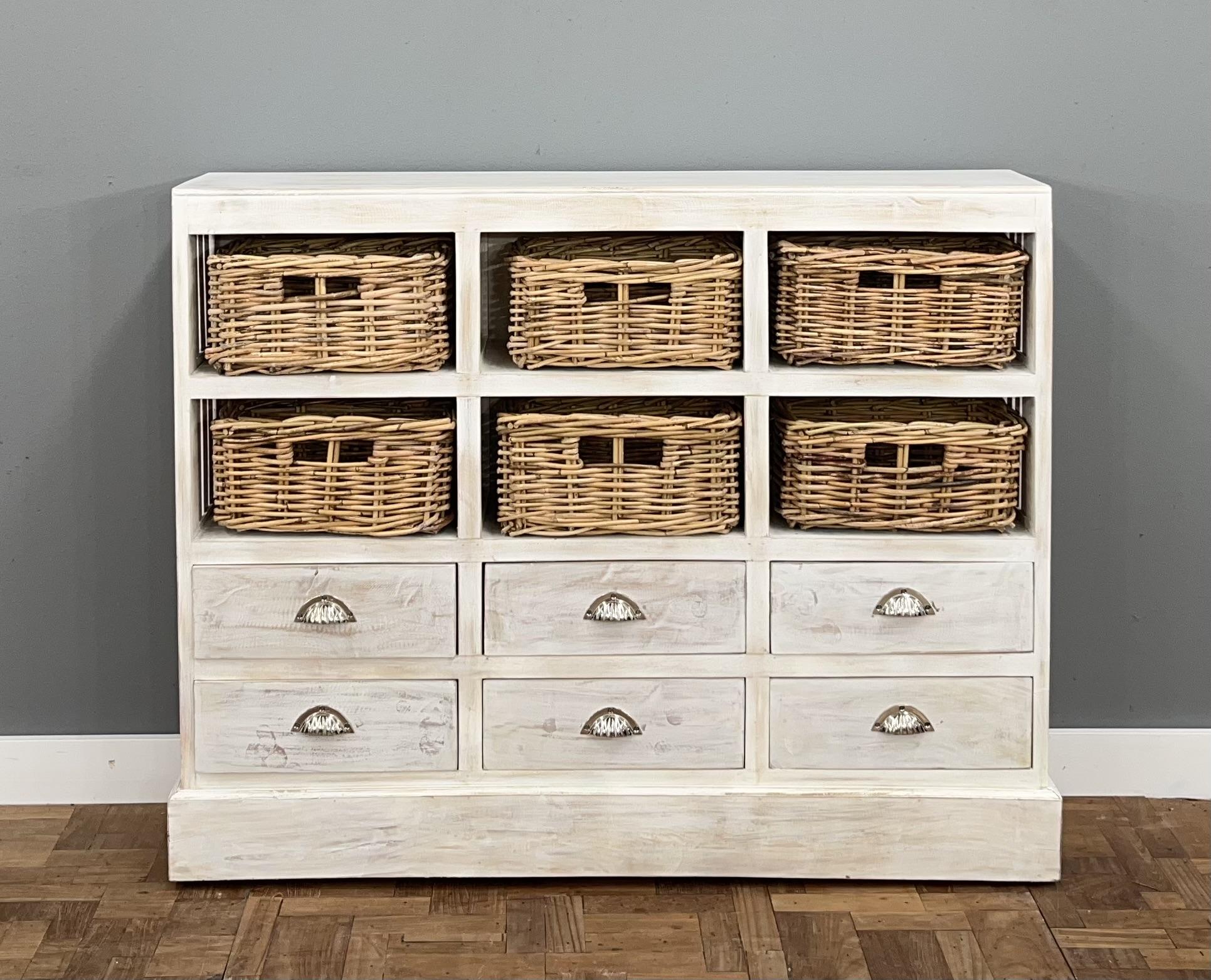 sale retailer 60fc5 7949f Karina 6 Drawer 6 Basket Chest - Mahogony Whitewash
