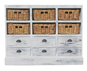 Karina 6 Drawer 6 Basket Chest - Mahogony Whitewash