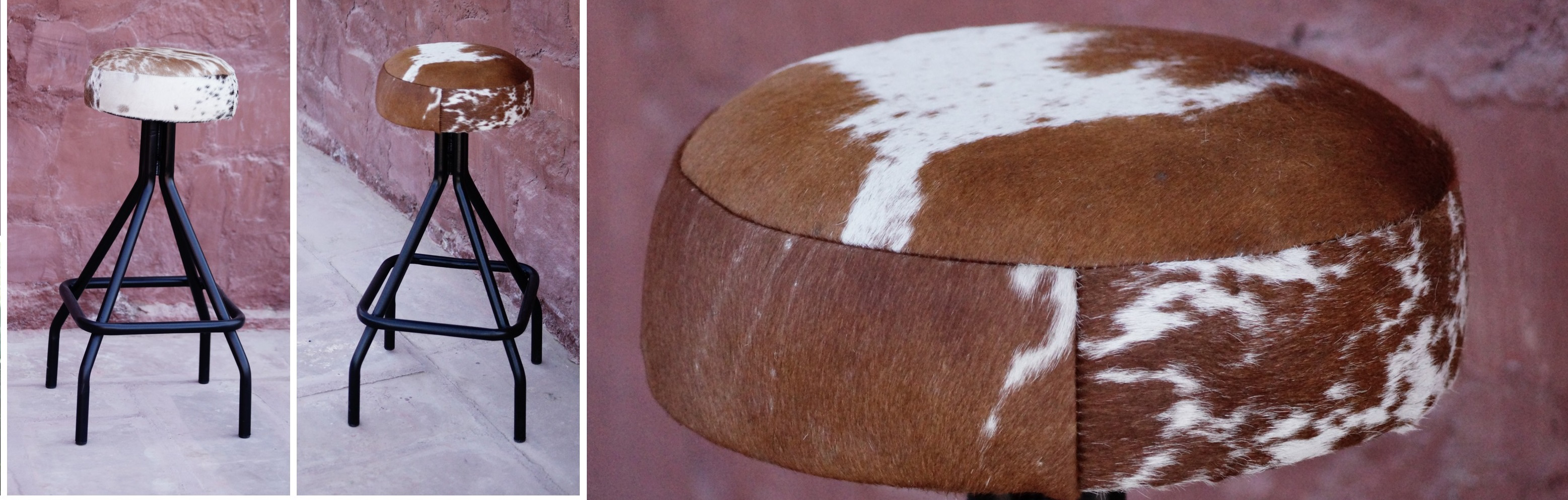 Arizona Cow Hide Stool Tan and White